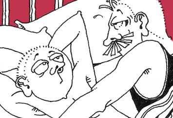 David Shenton cartoon depticting two men in bed, one looks bored.