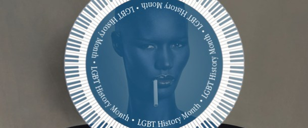 An iconic image of Grace Jones with a flat top hair cut and cigarette hanging out of her mouth. Her face has a blue tinit to it.