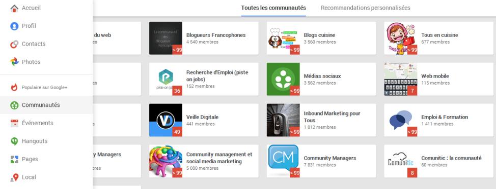 Communautés sur Google Plus