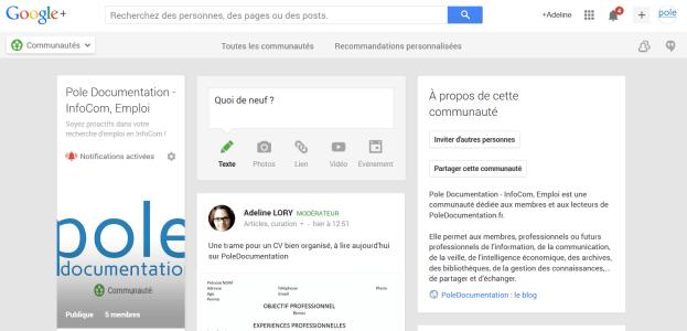 page accueil communauté google plus poledocumentation