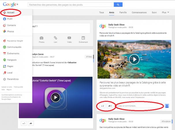 googleplus - accueil