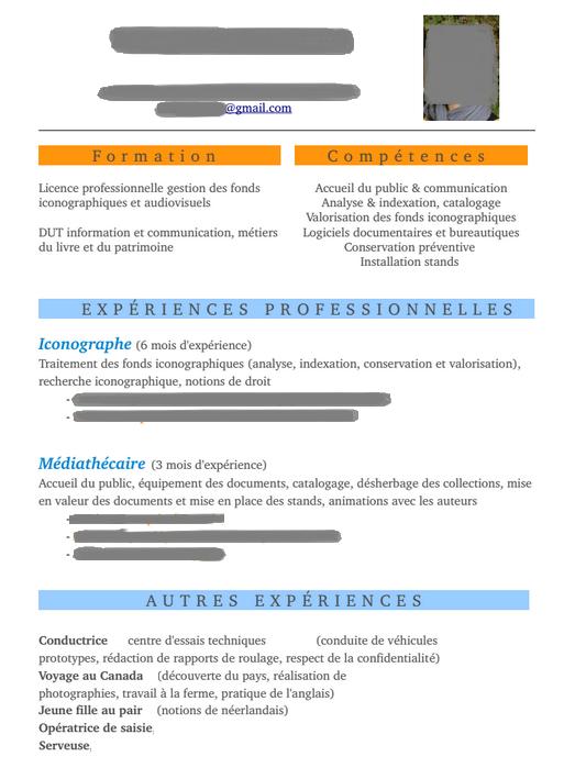 Exemple de CV iconographe