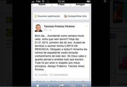 QUAL O REAL MOTIVO ? Prefeito de Água Branca renuncia pelo Facebook