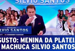 Menina do auditório fere Silvio Santos que, mesmo com ferimento sangrando, continua programa ao vivo  – VEJA VÍDEO