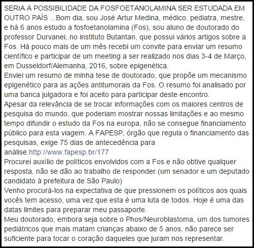 carta medico - Fosfoetanolamina: pesquisador brasileiro pode levar fórmula à Alemanha