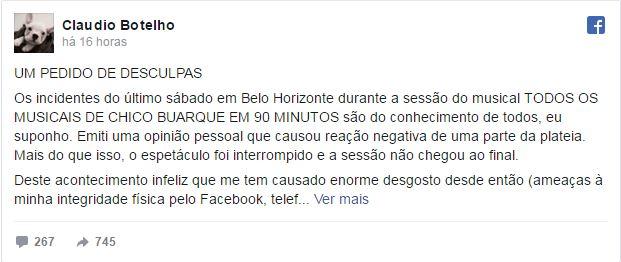 desculpas Claudio botelho - Chico Buarque aceita pedido de perdão de Claudio Botelho após confusão em BH