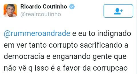 tweet ricardo 2 - Após derrota de Dilma na Câmara, Ricardo desabafa e rebate internautas
