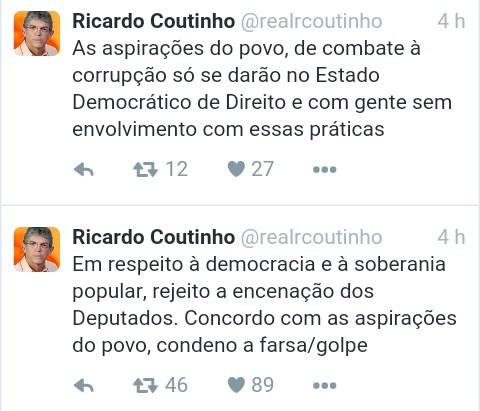 tweet ricardo - Após derrota de Dilma na Câmara, Ricardo desabafa e rebate internautas