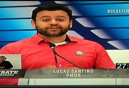 DEBATE NA MASTER: Lucas Santino evita confronto com Leto Viana e apresenta propostas para Cabedelo