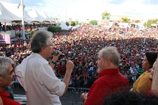 Ricardo e Lula em Monteiro - Ricardo Coutinho usa redes sociais para conclamar nordestinos para ato em defesa da Transposição