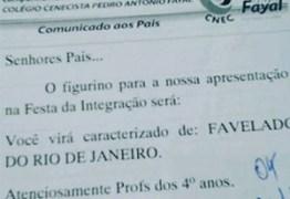Escola pede que alunos se fantasiem de 'favelado do Rio de Janeiro'