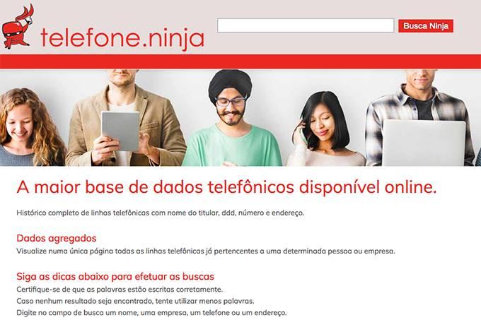 dados telefone ninja - Site divulga nome, telefone, e-mail e endereços de brasileiros
