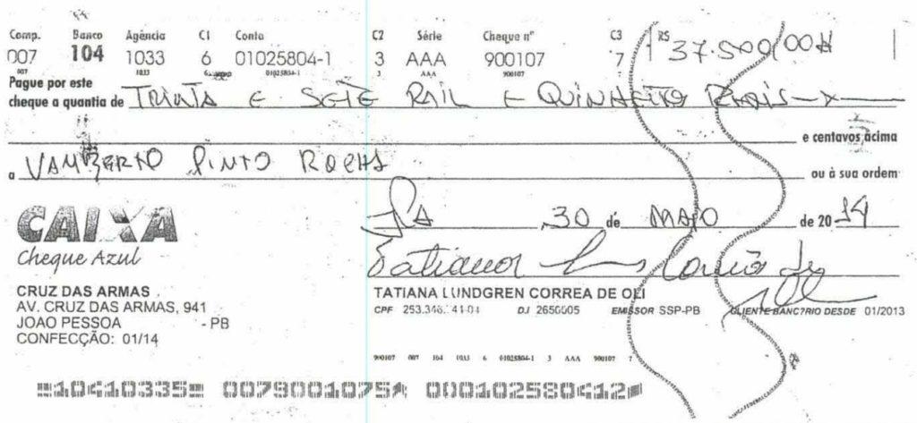 cheque-1 Grupo liderado por Tatiana Lundgren comprou R$ 238 mil em joias com cheques sem fundo