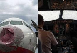 Chuva de granizo destrói vidro e bico de avião; piloto foi obrigado a pousar com 'zero visibilidade'