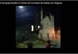 VEJA VÍDEO: Forte chuva derruba torre de igreja