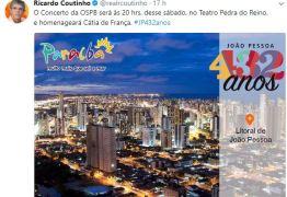 Ricardo Coutinho participa de concerto da OSPB em homenagem a João Pessoa