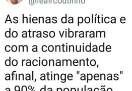 Nas redes sociais Ricardo Coutinho promete lutar pelo fim do racionamento em CG