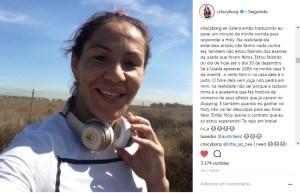 """cyborg instagram 300x193 - Cris Cyborg rebate vídeo e propõe testes iguais a Holly Holm: """"Não terá desculpas"""""""
