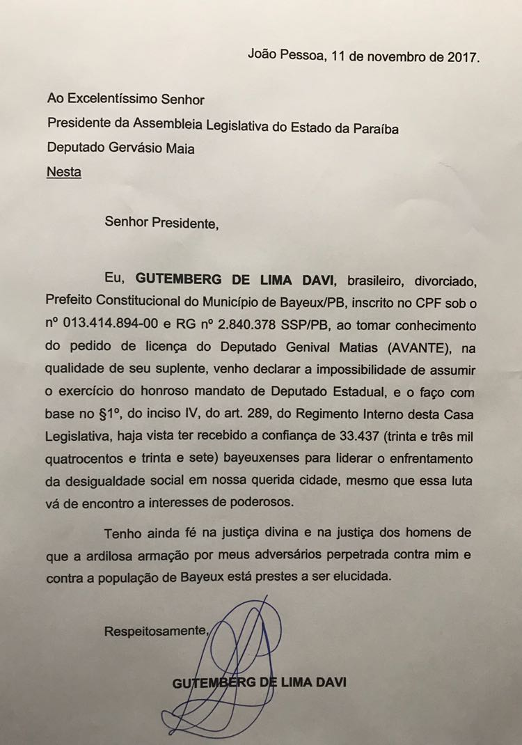 WhatsApp Image 2017 11 14 at 12.13.47 - LEIA A CARTA: Berg Lima abre mão de assumir vaga na Assembleia Legislativa