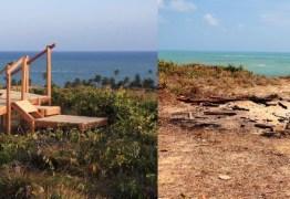 VANDALISMO: Estrutura do mirante 'Dedo de Deus' no Conde, PB, é destruída