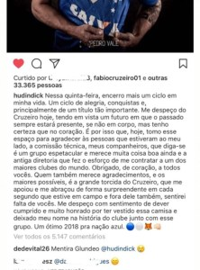 "insta cruzeiro 1 222x300 - ""Revoltado"": Thiago Neves protesta sobre saída de Hudson; Dedé também desabafa"