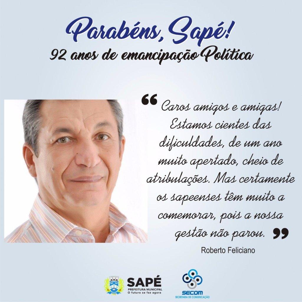 roberto - VÍDEO: Sapé comemora 92 anos de emancipação política e prefeito Roberto Feliciano destaca avanços da cidade