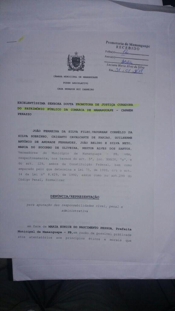IMG 20180201 WA0014 - 'SUPERFATURAMENTO, CONTRATAÇÕES IRREGULARES...': vereadores denunciam prefeita de Mamanguape por 'crimes' cometidos na gestão pública