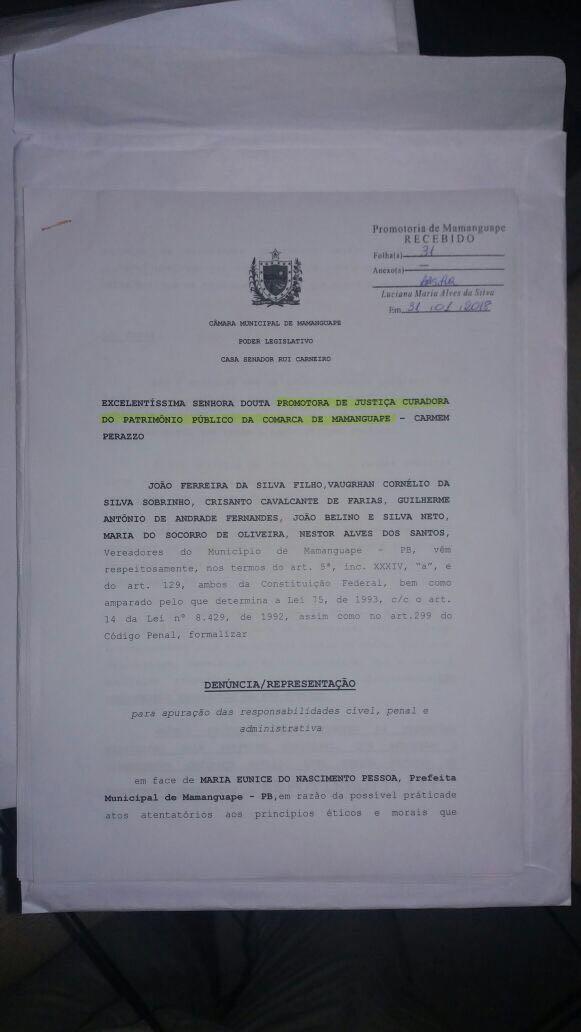 IMG 20180201 WA0016 - 'SUPERFATURAMENTO, CONTRATAÇÕES IRREGULARES...': vereadores denunciam prefeita de Mamanguape por 'crimes' cometidos na gestão pública