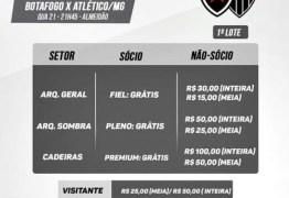 Valores dos ingressos para Botafogo-PB e Atlético-MG já estão definidos