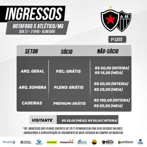 IMG 20180217 WA0000 500x500 - Valores dos ingressos para Botafogo-PB e Atlético-MG já estão definidos