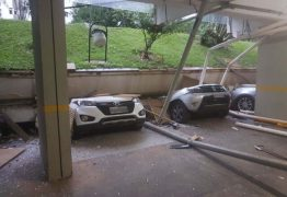 Piso cai e esmaga carros em garagem de prédio residencial