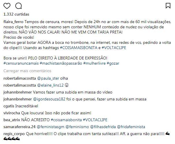 comentario flaira - Youtube retira clipe polêmico de Flaira Ferro e fãs movimentam redes sociais em protesto - ASSISTA AQUI