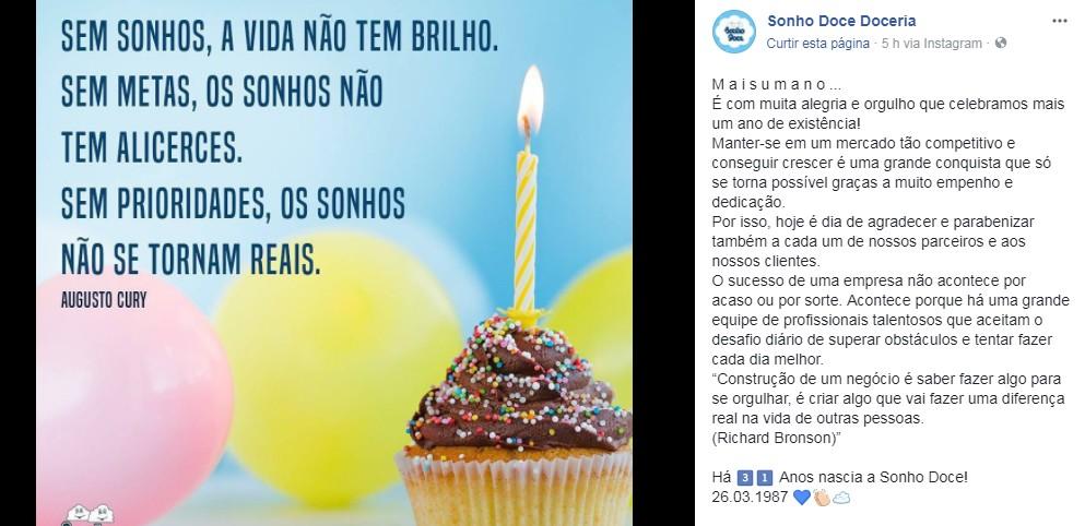 sonho - VEJA VÍDEO: Conhecida como a doceria mais tradicional da capital, Sonho Doce comemora 31 anos