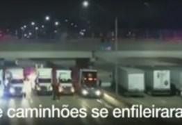 VEJA VÍDEO: Caminhões formam barreira sob ponte e impedem tentativa de suicídio