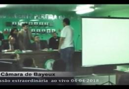 AO VIVO: Vereadores de Bayeux decidem agora sobre cassação de Luiz Antônio, em Bayeux