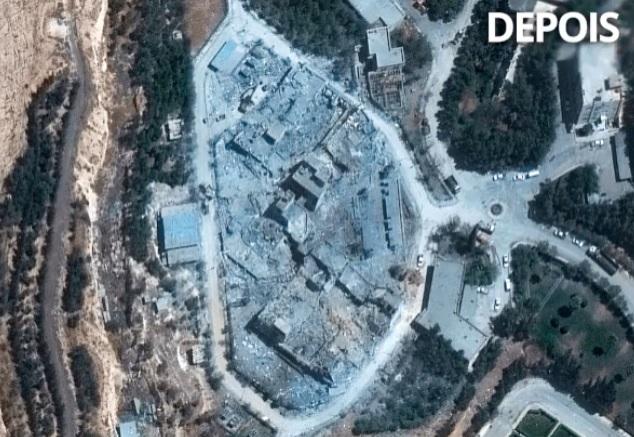 depois do bombardeio - Fotos de satélite mostram centro de pesquisa sírio antes e depois de ataque dos EUA