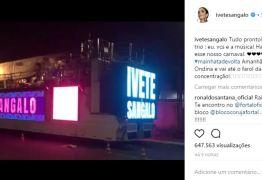 Ivete Sangalo volta aos shows neste domingo, aniversário de Salvador
