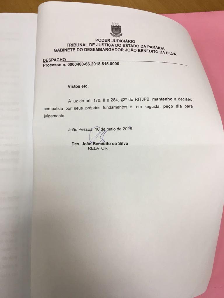 despacho 1 - Desembargador do TJPB mantém prisão de envolvidos na Operação Xeque-Mate