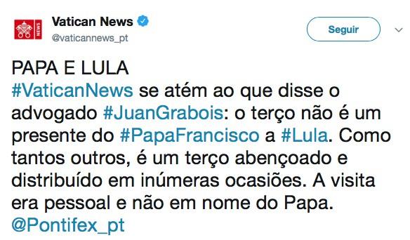 Captura de Tela 2018 06 12 às 13.13.41 - Papa não enviou terço para Lula