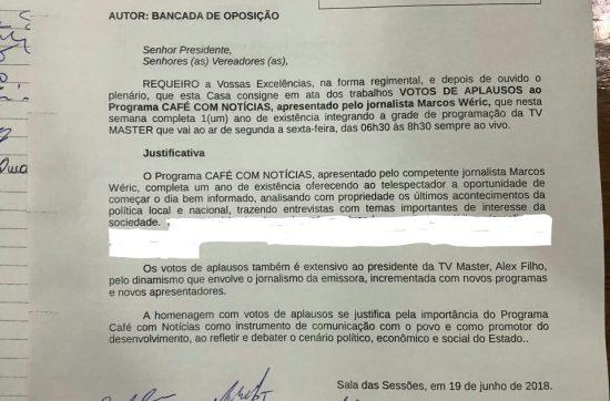 Câmara de JP aprova voto de aplauso para Café Com Notícia e TV Master