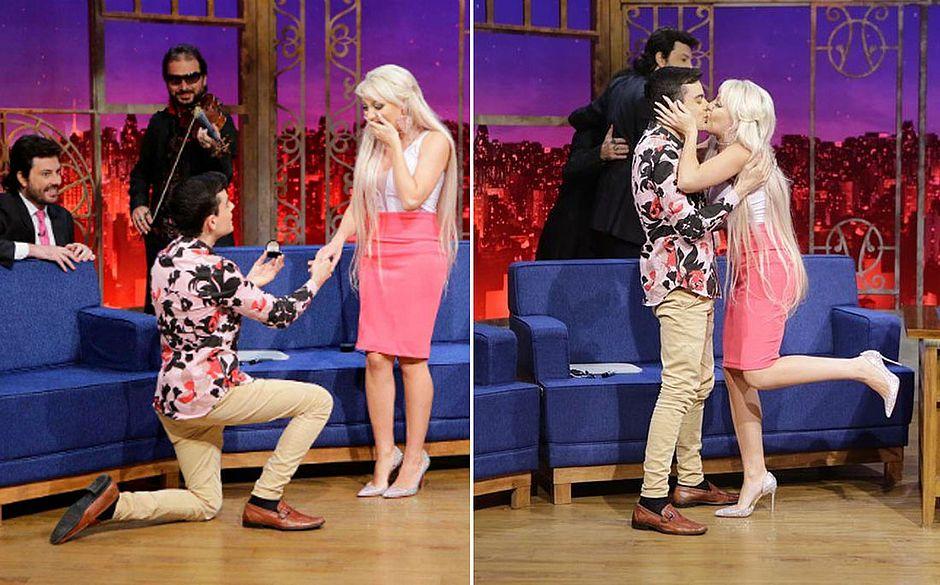 dudu camargo barbie humana bárbara - VEJA VÍDEO: Dudu Camargo pede 'Barbie humana' em namoro na tv