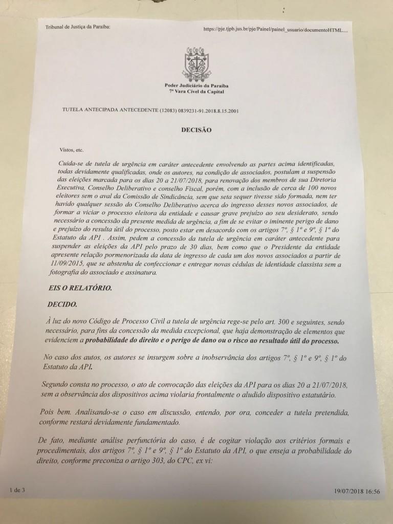 WhatsApp Image 2018 07 19 at 17.54.09 1 768x1024 - SUSPENSA AS ELEIÇÕES DA API: Juíza prorroga por 30 dias suspeitando de fraude na lista de sócios pelo atual presidente João Pinto