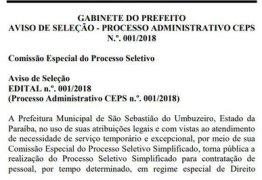 Prefeitura paraibana divulga edital de seleção com salários acima de R$ 2 mil