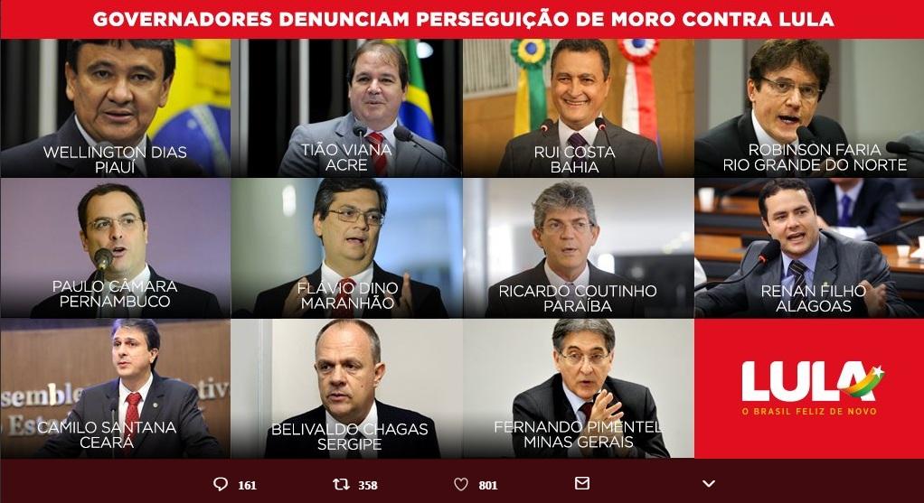 governadores nordeste acre minas gerais lula moro defesa - RC e mais 10 governadores denunciam perseguição de Moro contra Lula