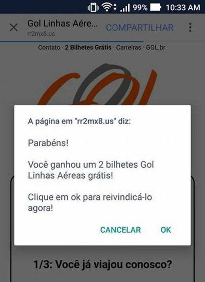 OLHA O GOLPE: Cuidado com 'promoções' que oferecem passagens grátis da Gol no Facebook e WhatsApp