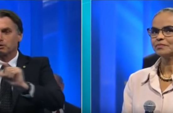 Jair Bolsonaro e Marina Silva batem boca em debate.