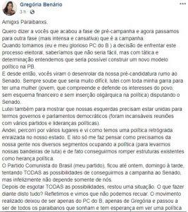 GREGÓRIA DESISTE 267x300 - Gregória desiste de candidatura ao Senado e se lança como candidata a deputada federal