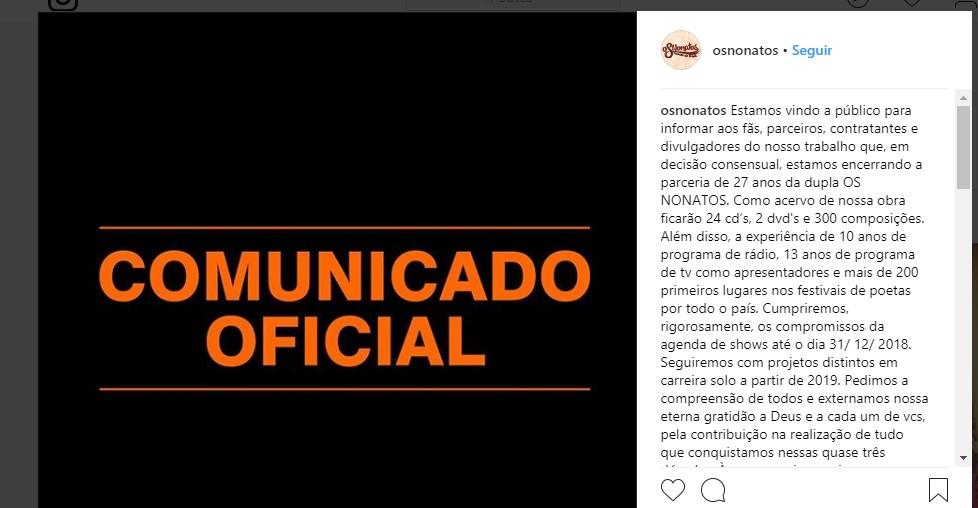 Untitleda - FIM DA DUPLA DE SUCESSO: Os Nonatos rompem parceria de 27 anos de trabalho na música