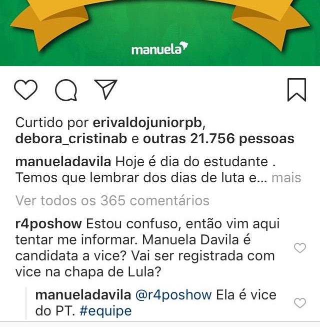 manueladavila - Internauta confuso questiona se Manuela D'avila será vice de Lula, e tem a resposta: 'Ela é vice do PT'