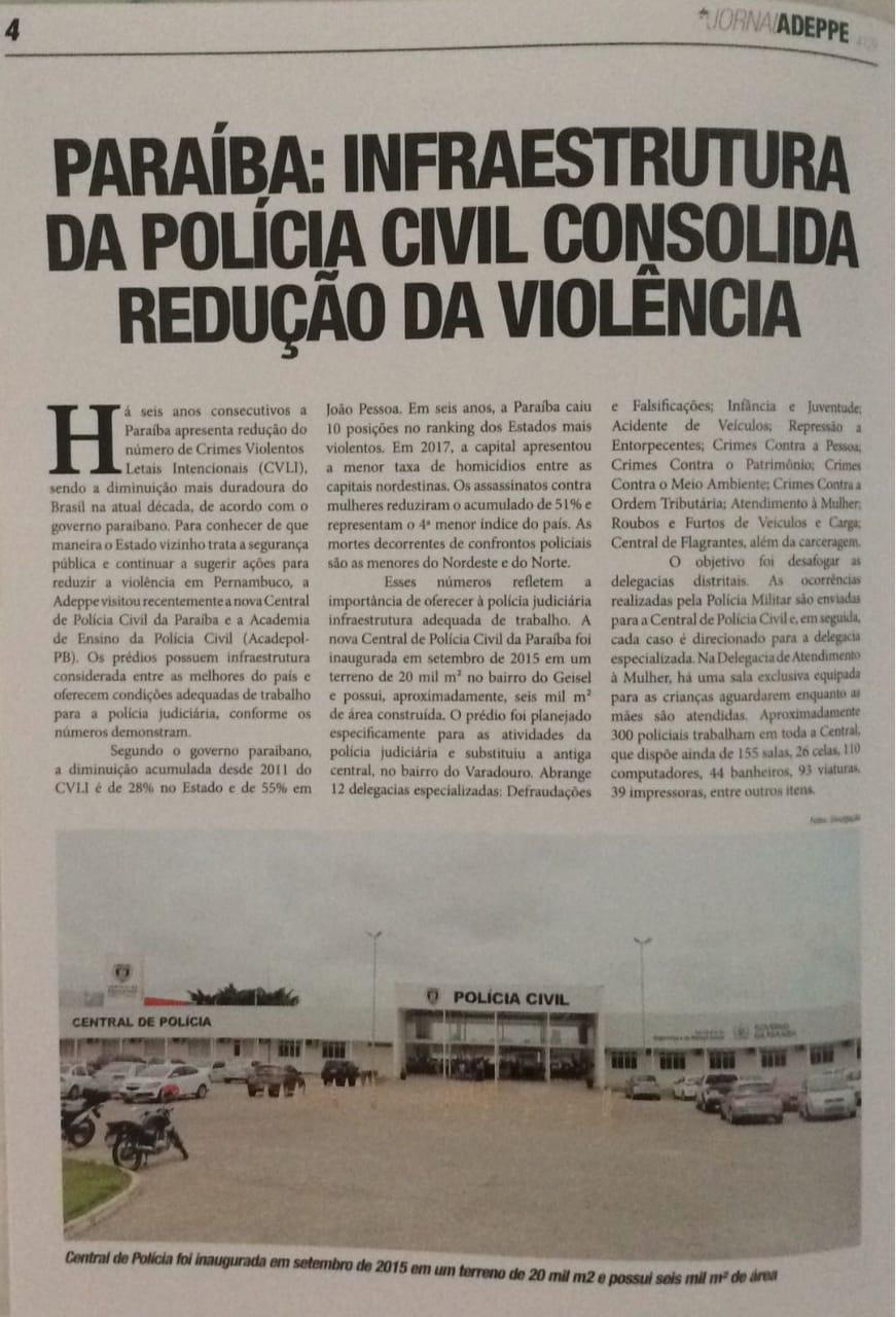 IMG 20180924 WA0012 - RECONHECIMENTO: Associação de Delegados de Pernambuco destaca redução de violência na Paraíba e infraestrutura da Acadepol e Central de Polícia